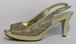 Nine West Kalner women's gold metallic shoes heel open toe size 8M - $18.80
