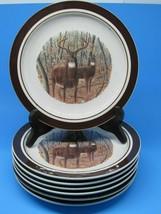 "Folkcraft Stoneware Cabela's Whitetail Buck 8 3/4"" Salad Plates Bundle of 7 - $34.29"