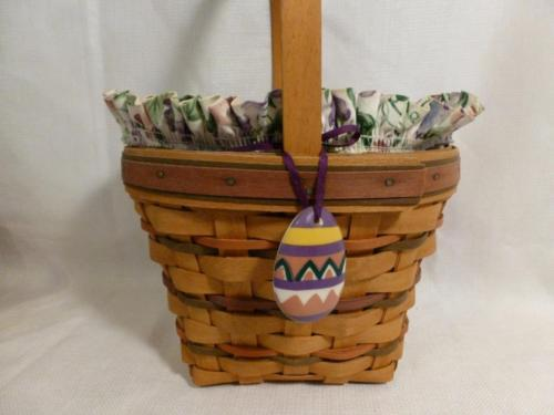 1996 LONGABERGER tall Easter BASKET & protector, pansy liner, egg tie on - combo