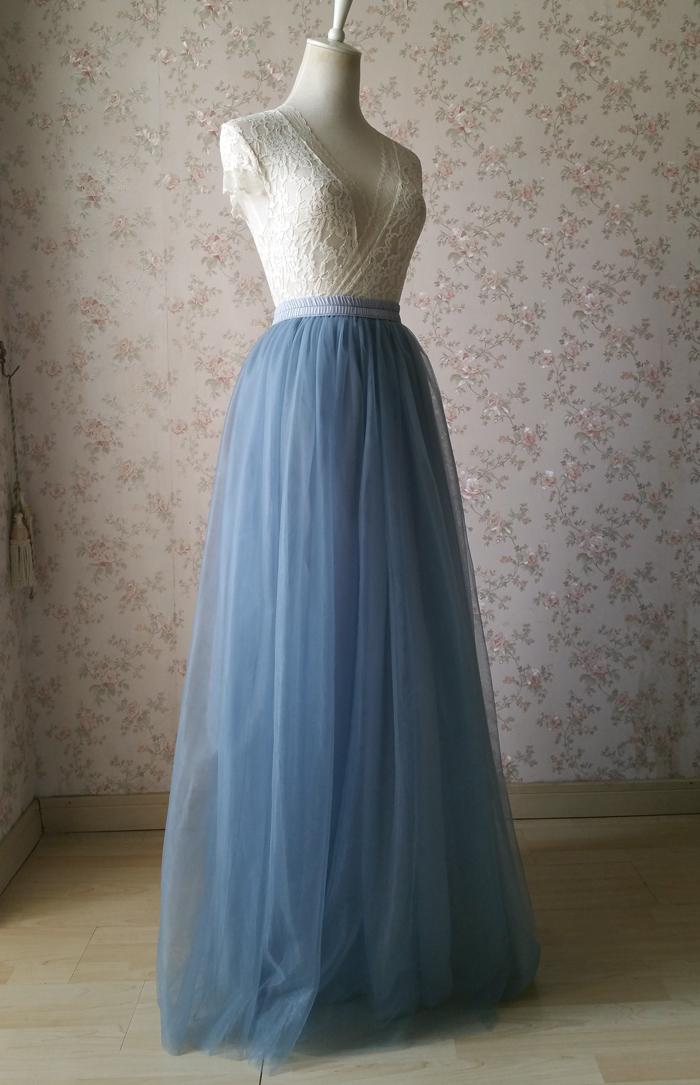 Dusty blue tulle skirt wedding 04