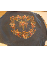 Blue Beige Pink Flower Print Finished Needlepoint Cover / Upholstery Seat - $9.95