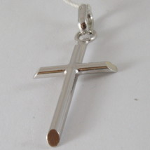 18K  WHITE GOLD CROSS, PENDANT, STYLIZED, TUBE, ROUNDED, MADE IN ITALY image 2