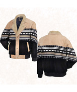Mens Tan/Black Southwestern Western Suede Leather Jacket Coat Faux Sheep... - $58.99