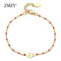 ZMZY Thin Chain Stainless Steel Bracelet Women Gold Color  Hamsa Hand Tu... - $9.06