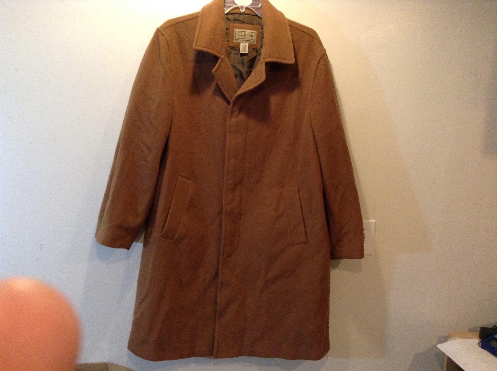 Men's L.L. Bean Button Up Collared Brown Winter Coat Sz LT