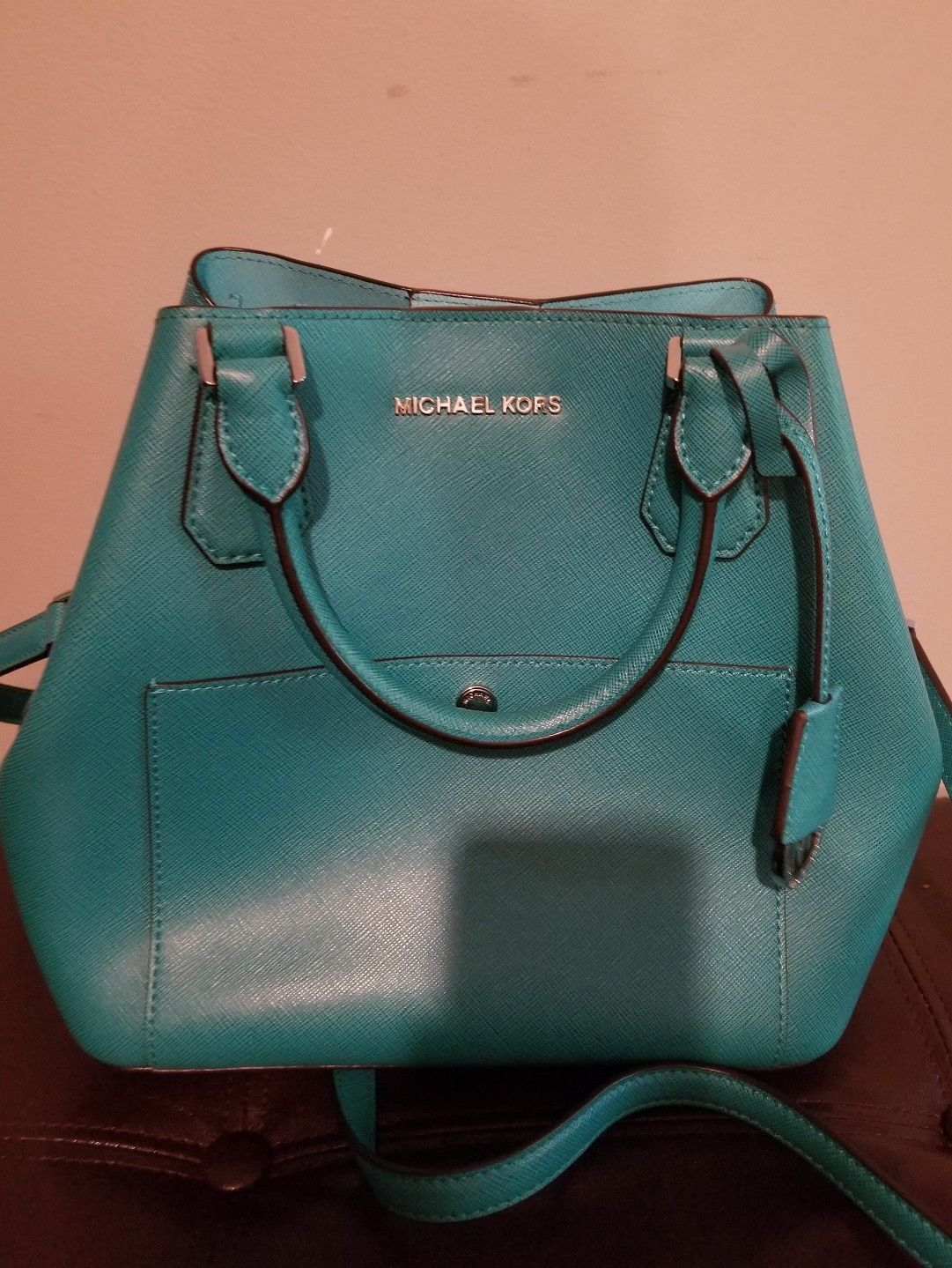 ec392164a4197 MICHAEL KORS Large Saffiano Greenwich Leather Tote Green Luggage MSRP  358