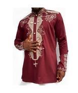 Men Hip Hop Tops African Clothes Long Sleeve Stand Collar Button Decor P... - $57.87