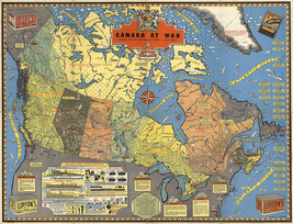 """LARGE 23""""x30"""" Canada at War WWII 2 Pictorial Map Promotional Military Ar... - $26.24"""