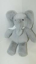 "Pottery Barn Kids small gray elephant plush white ribbon bow 2014 11"" - $10.68"