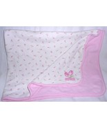 Carters Just One Year Baby Blanket Princess Rose Bud Pink White Cotton F... - $29.68