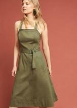 New Anthropologie Chino Apron Midi Dress Retail $158 Olive Green Size 2 - $43.76