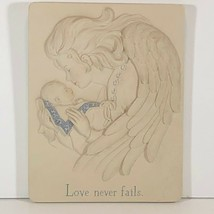 "'sarah's angels by Cheri Lane "" love never fails "" resin wall plaque - $14.50"