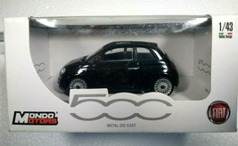 Mondo Motors Nuova Fiat 500 Metal Die Cast 1/43 Scale Black with Sunroof... - $19.34