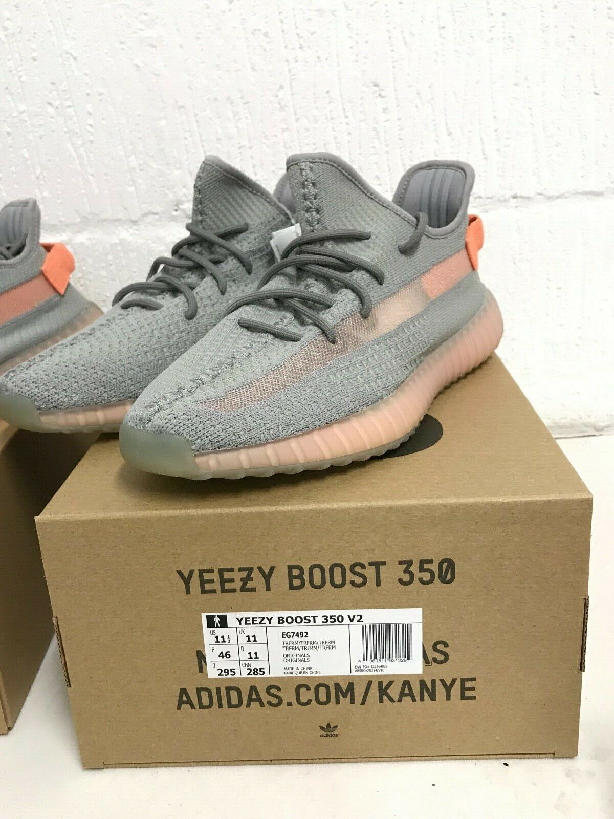 Adidas Yeezy Boost 350 V2  Grey TRFM EG7492 Sizes 3 4.5 5 5.5 6 static 3m 700 image 6
