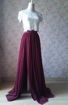Burgundy Split Tulle Skirt Burgundy Wedding Maxi Tulle Skirt Bridesmaid Tutu  image 2