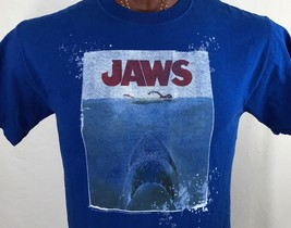 Jaws Movie Great White Shark Blue Graphic T Shirt 100% Cotton M Medium - $14.25