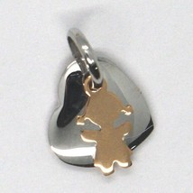 White Rose Gold Pendant 750 18k, Heart and bimba overlapping, Made in Italy image 2