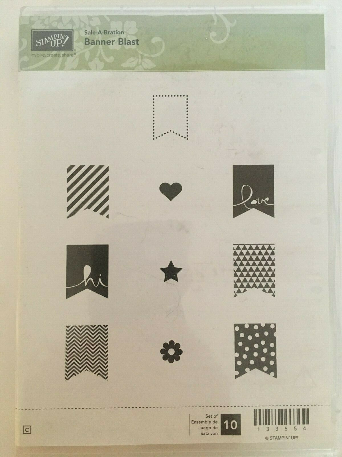 Primary image for Stampin Up Sale-A-Bration Banner Blast Celebration Hi Love Cling Stamps Set 10