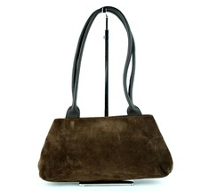 Authentic FURLA Suede Brown Leather Small Hand Bag Purse Made Italy - $127.71