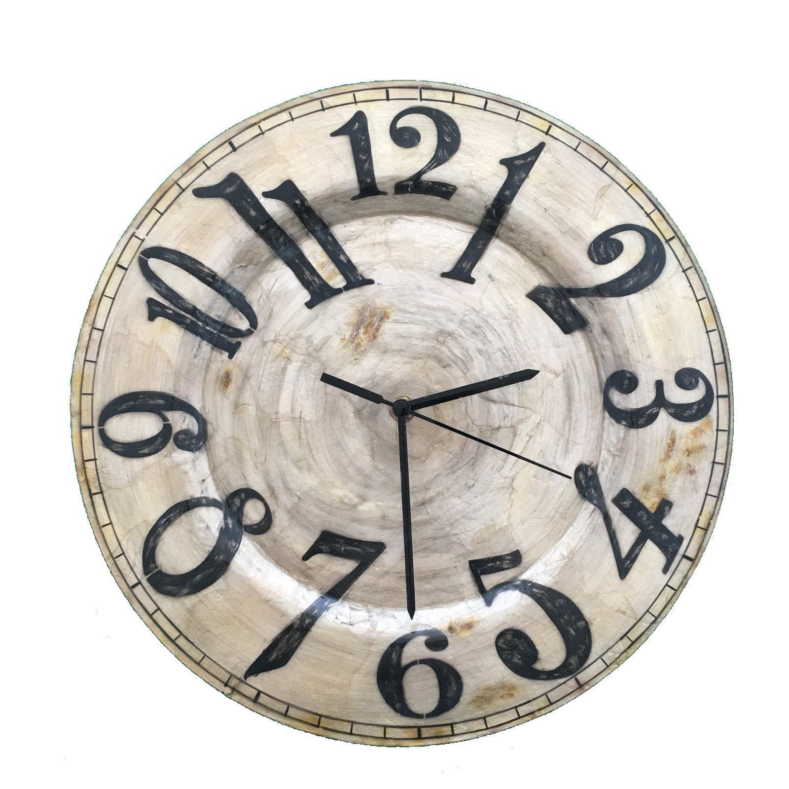 Eangee Home Design Indoor Outdoor Handpainted Wall Clock Pearl Black Numbers