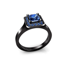 925 Silver 14k Black Gold Plated Princess Cut Blue Sapphire Women's Wedding Ring - $70.18