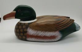 painted carved wooden mallard drake duck decoy decor figurine - $14.84
