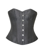 Plain Black Silk Gothic Burlesque Bustier Waist Training Overbust Corset... - $69.29