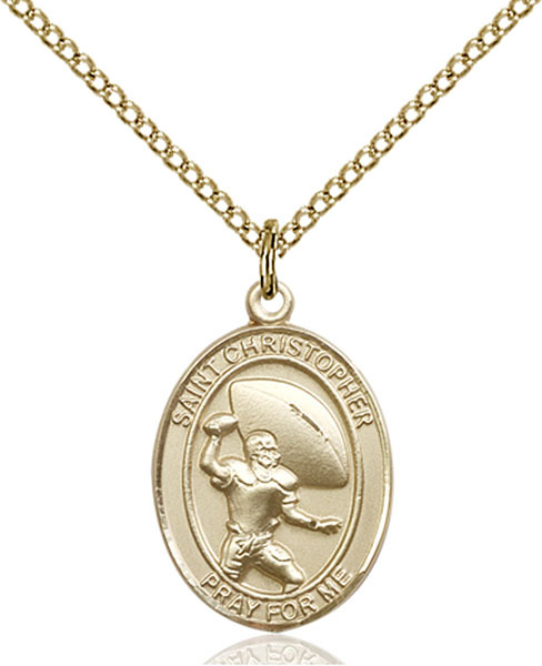 14K Gold Filled St. Christpher / Football Pendant 3/4 x 1/2 18 inch Chain - $105.00