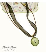 Button Drop Necklace: olive green vintage button & silk ribbon, brown su... - $15.00