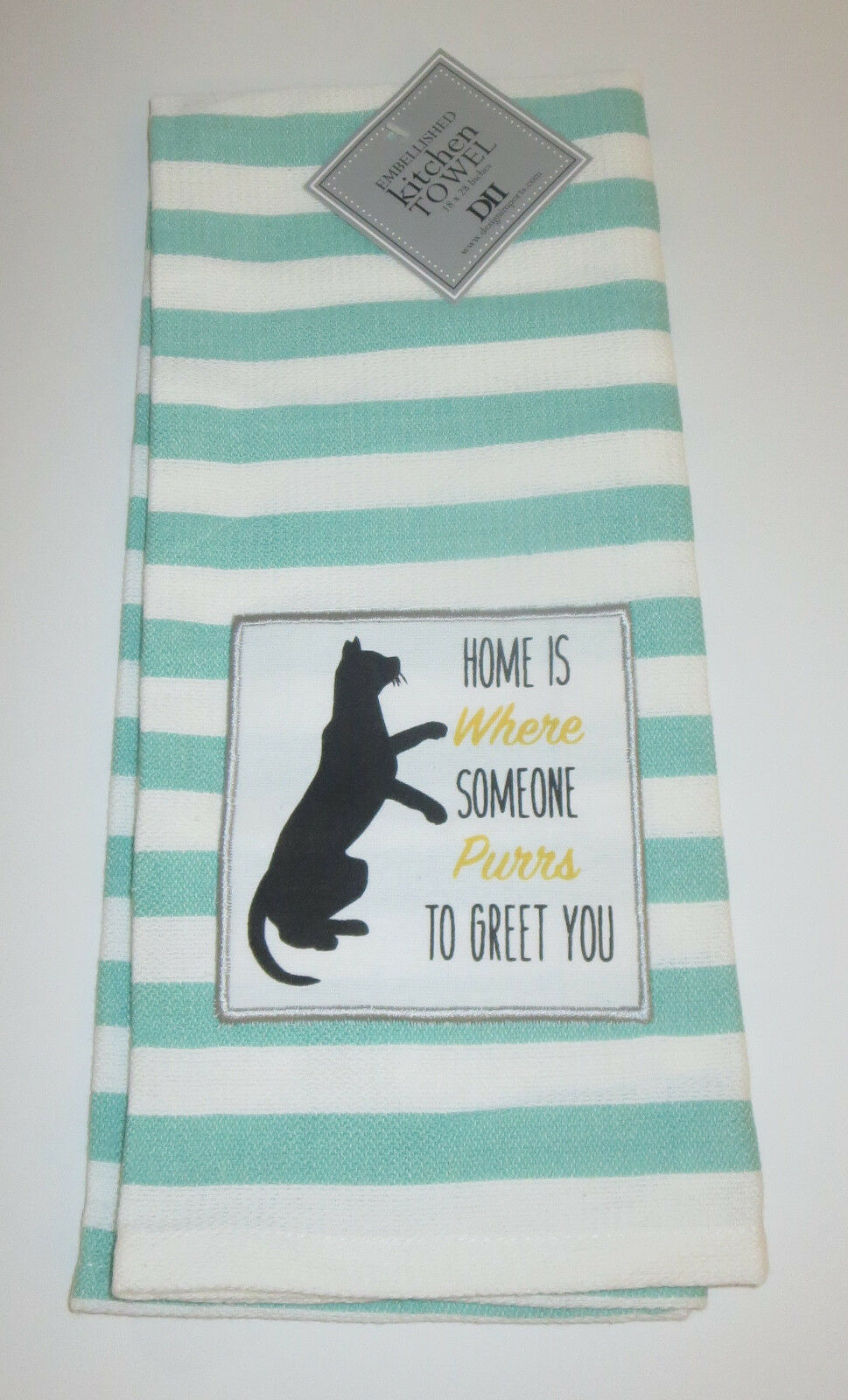 Home Is Where Someone Purrs To Greet You Dish Towel Cat Embellished New Striped