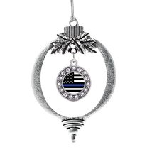 Inspired Silver Thin Blue Line American Flag Circle Holiday Christmas Tr... - £10.57 GBP