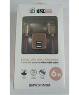 Lax 2.4 Rapid Charger Dual USB Wall Charge with 6 foot Braid Micro USB c... - $10.99