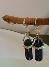 Natural Healing Lapis Lazuli Point Earrings, earwires marked 925 Sliver  - $9.89