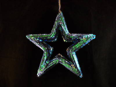 13 inch Peacock blue Sequined Star Ornament