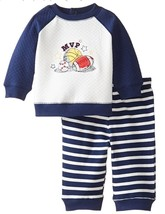 Little Me Baby Boys' Quilted Pant Set, Navy Stripe, Size 6M - $17.81