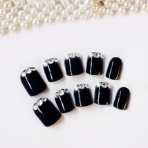 24pcs Rhinestone Decoration Nail Art False Nails(BLACK) image 2