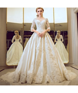 Vintage / Retro Church Wedding Dress Ball Gown Cathedral Train In Stock - $458.00
