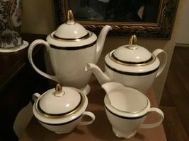 Mint Minton Saturn fo Royal Doulton Gold Black Tea Pot Sugar Bowl Creamer - $54.45