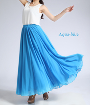 Women Long MAXI Chiffon Skirt AQUA-BLUE Chiffon Maxi Skirt Summer Wedding Skirt image 11