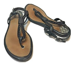 Sperry Womens Thong Flat Sandals Buckle Black Rope Design Size 6 - $15.57