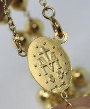 "18K YELLOW GOLD 27.5"" BIG ROSARY 6mm MIRACULOUS MEDAL SAINT BENEDICT JESUS CROSS image 7"