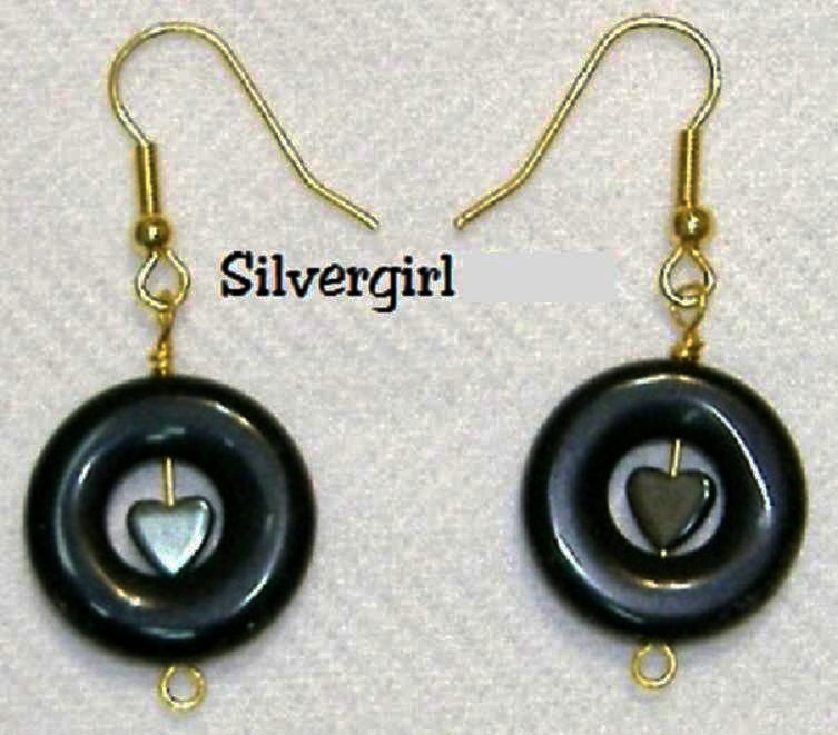 Blackstone donut hematite heart earrings gp