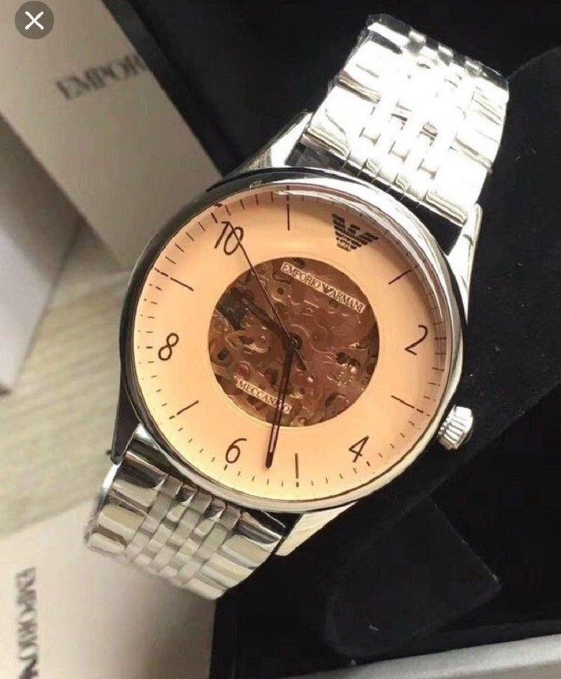 2569154be 57. 57. Previous. NWT Emporio Armani AR1922 MECCANICO Series Men's  Automatic Stainless Steel Watch