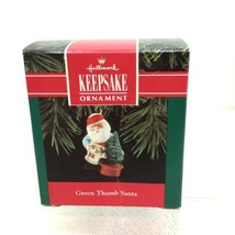 1992 Green Thumb Santa Hallmark Christmas Tree Ornament MIB Price Tag H6 - $9.41