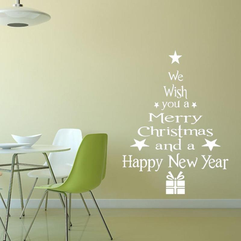 Decoration For Home White Red Christmas Wall Sticker Removable Waterproof Wall