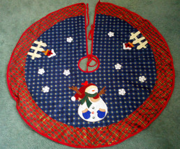 country primitive christmas street skirt applique snowman birdhouse plai... - $34.65