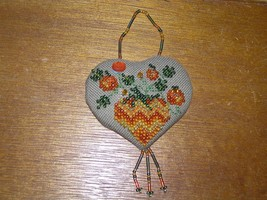Estate Handmade Orange Yellow & Green Beaded Fabric Heart with Halloween... - $10.39