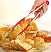Food Silicone Tongs Stainless Steel Kitchen Tools Cooking Salad BBQ Gadg... - $5.39