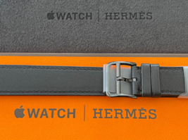 Apple Watch Hermes Space Black Stainless Steel Double Tour Strap 40mm New - $763.28