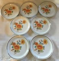 "7 Vintage NITTO Heather Stone KIKU 9824 Pattern 1970s  8"" Bread Salad Pl... - $28.00"